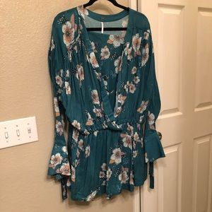 FREE PEOPLE Teal Floral Tunic